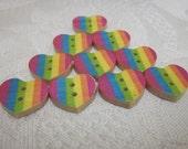 10 Wooden Rainbow Heart Buttons