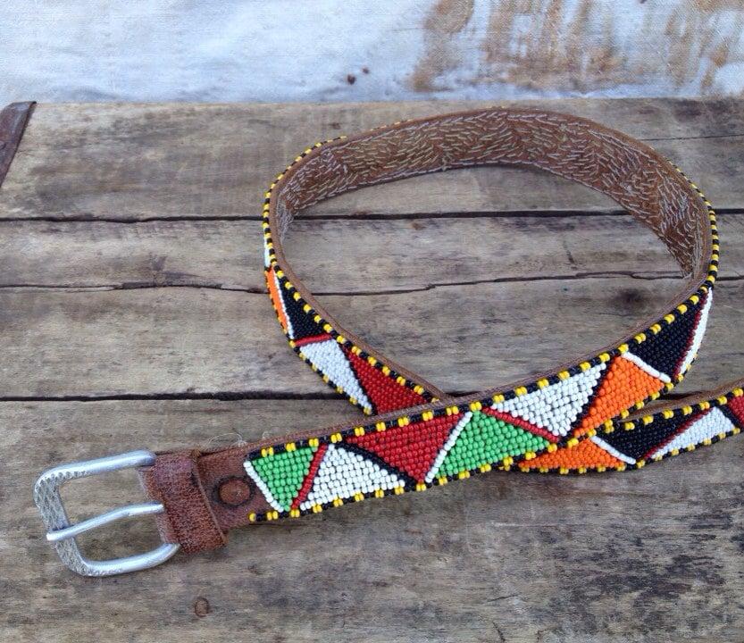 Antique C 1940s Native American Beaded Leather Belt