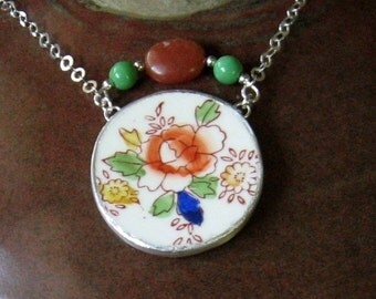 """Vintage Broken China, Ceramic Shard Necklace, Sterling Silver and Stone Beads, Pretty """"Hand Painted in Japan"""" Flowers"""