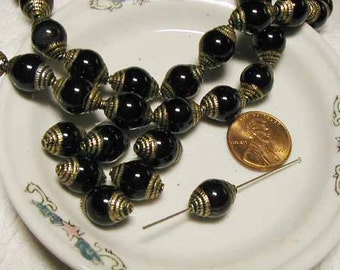 Onyx Brass Bead - Nepal - 6 pcs.