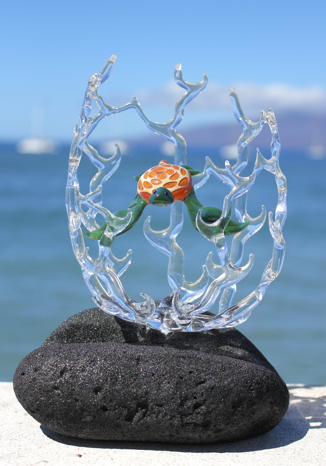 Hawaiian Sea Turtle In Coral Glass Sculpture By Mauigreenstone