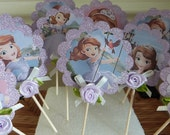 Glittery Sofia the First - Cupcake Flags - 12 Paper - Cake or Cupcake Toppers, use for Happy Birthday, Celebration or a party