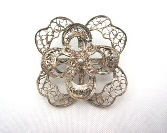 Vintage Silver Filigree Brooch