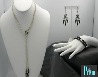 3 Piece Serpentine and Black Onyx Jewelry Set