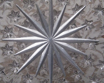 Dresden Trim Paper Foil 2 Large Silver Stars Germany Die Cuts Christmas