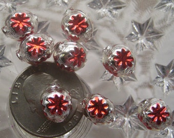 8 Glass Garland Beads Christmas Garland Red Indents Beads Czech Republic  022 RS