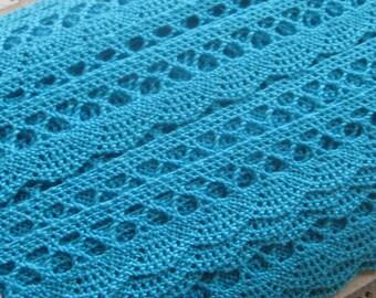 7-3/4 Yards Czech Republic 100% Cotton Woven Lace Crochet Edging Trim 18mm Wide Turquoise Blue  BD 25