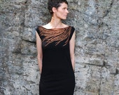 Modern Feather T Shirt  Dress - Womens Fashion - Metallic Copper Rust Feather Print - Day to Night