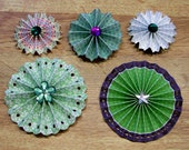 5 Handmade Embellished Paper Rosettes for Scrapbooking Cardmaking Papercrafts