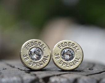 Bullet Earrings stud or post steampunk, nickel silver Fedeal .38 special with Swarovski crystals