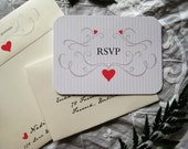 Romantic Love Birds Wedding Invitation (Cardinal Red, Sepia with Ivory Envelopes, Gold/Silver Baker's Twine) -  Heath Collection Deposit