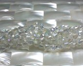 6 by 4mm, Glass Teardrop Beads, Clear with AB, Iridescent, Strand, Small, Jewelry Beads