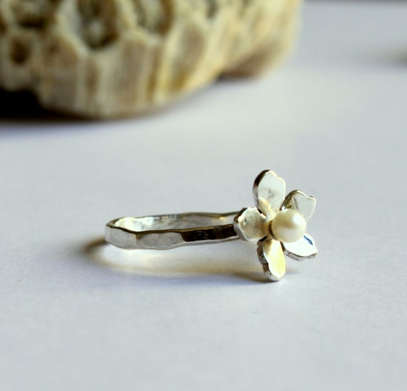 Delicate Sakura Flower Ring With Freshwater Pearl Bridal Ring Hammered Band