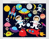 Space clipart - astronaut clip art, UFOs, aliens, spaceships, rockets, planets, Earth, moon, for personal and commercial use