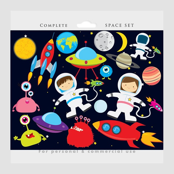 Space clipart - astronaut clip art, UFOs, aliens, spaceships, rockets ...