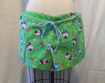 HELLO KITTY Spring Green Pajama Shorts Size M/L