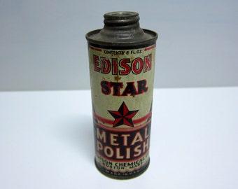 antique Edison Star metal polish can