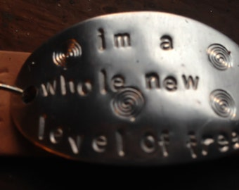 I'm a Whole New Level of Freak Leather Cuff Stamped Bracelet Supernatural SPN Sam Winchester