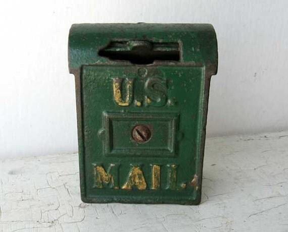 Antique 1920 Vintage Cast Iron Mail Box By Kelleystreetvintage