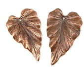 Vintaj WOODLAND LEAF Artisan Copper Pendants - 38mm Antique Copper Leaf Pendants - Woodland Bohemian Supplies CP0001