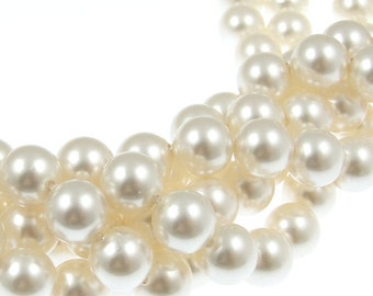 50 White Pearls 8mm Swarovski Crystal Pearls 5810 8mm White Ivory BULK BAG