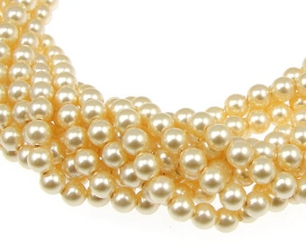 100 LIGHT GOLD 4mm Swarovski Crystal Pearls - Buttercream Pale Yellow Pearls - 5810 4mm Pearls Swarovski Beads