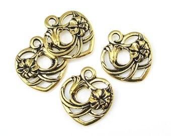 Heart Charm - TierraCast FLORAL HEART Drop - Antique Gold Charm - Valentine's Day Gold Heart Pendant (P1183)