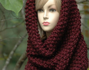 Chunky Scarf Cowl Hood, Knit Scarf, Claret Burgundy, Infinity Scarf, Over sized Cowl, Women's Scarves, Fall Scarf, Women Scarf, Knitted Wool