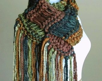 Woodland Knit Fringe Scarf, Women's Scarf, Chunky Scarf, Vegan Scarf, Hand Knitted Scarf, Original Design Drop Stitch in Green Brown Toffee