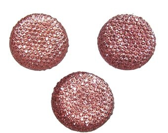 Resin rhinestone 24mm round and faceted cabochon in Peach 3pcs