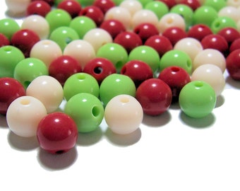 8mm Smooth Round Acrylic Bead mix Christmas colors 100pcs