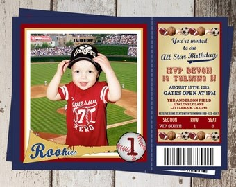 All Sports Ticket Birthday Invitation - All-Star Sports theme with Baseball Card Photo Spot - JPG file - print yourself