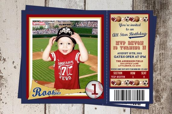 All Sports Ticket Birthday Invitation AllStar Sports theme – Sports Themed Birthday Invitations