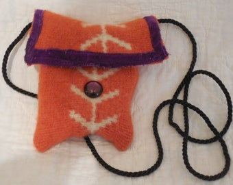 Repurposed Sweater Handmade Shoulder Bag Stash Bag Cell Phone Change Purse Steampunk Upcycle