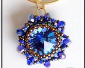 Swarovski Crystal Rivoli Sapphire Pendant Necklace