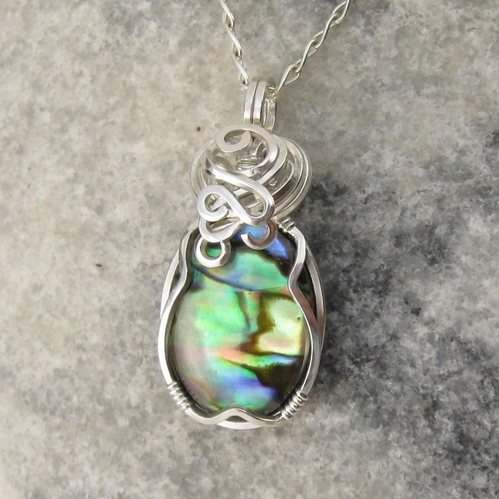 paua shell necklace abalone pendant paua shell jewelry