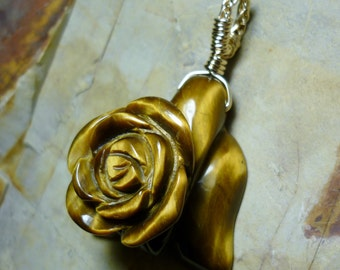 Golden Tiger Eye Rose Carving 14kt Gold Wire Pendant