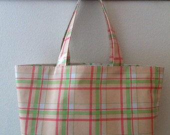 Beth's Large Pastel Plaid Oilcloth Market Tote Bag