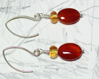 Andean nights carnelian and citrine  earrings