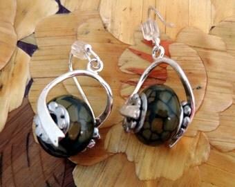 Green Bead  Silver Earrings