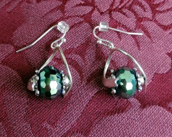 Green Crystal Twisted Earrings