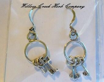 Skeleton Keys Tibetan Silver Earrings
