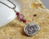 Lotus Jewelry, Blooming Lotus Jewelry, PMC Fine Silver, Ruby, Pink Topaz Gemstone Jewelry, Silver and Gemstone Necklace by LindaGeez