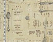 Menu fabric French fabric French writing fabric historical restaurant menu vintage silverware cottage kitchen fabric FREE SHIPPING  1 yard