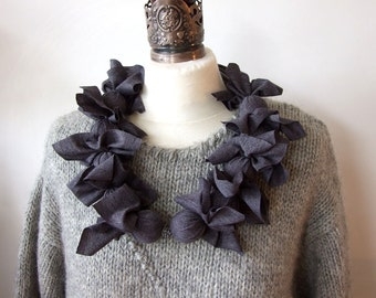 Textile Necklace Scarf neck fascinator in graphite gray, ruffled fiber necklace lariat, scarf with bow, gift under 50, Mother's day gift