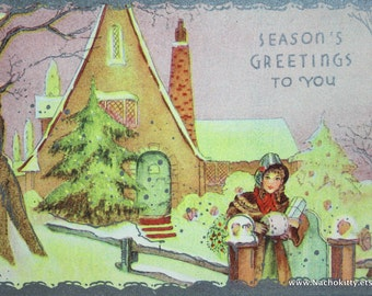 1920s Christmas Advertisement Promo Classic Bungalow Cottage