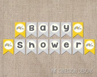 Printable Baby Shower Banner Bunting PDF Gender Neutral Yellow and Gray Elephants INSTANT DOWNLOAD