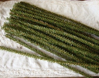 Wired pine tree stems Christmas craft supplies green pipe cleaners Tree stems childrens crafts Country style craft supplies