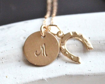Gold Initial Necklace, Gold horseshoe Necklace, Charm Necklace, Gold Necklace, Bridesmaids Gift, Monogram necklace