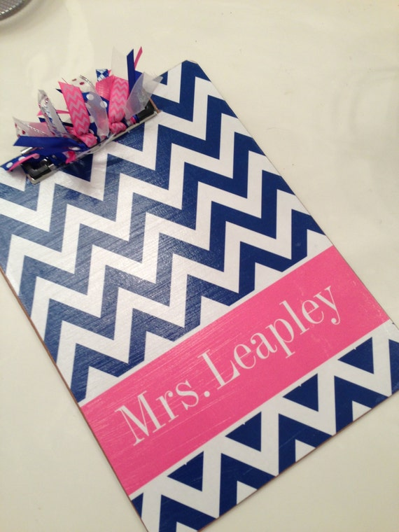 Navy and Pink Chevron Clipboard with Free Personalization and Monogram